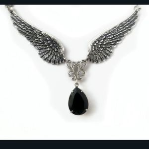 HP!! NWT Goth Silver Angel Wings Necklace!